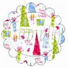 Abstract Christmas Trees Scalloped ~ Cupcake Toppers ~ Set of 1 Dozen