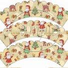 Santa & Friends Scalloped ~ Cupcake Wrappers ~ Set of 1 Dozen