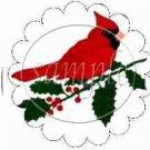 Cardinal & Poinsettia Scalloped ~ Cupcake Toppers ~ Set of 1 Dozen