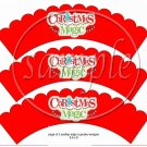 Christmas Magic  Scalloped Red ~ Cupcake Wrappers ~ Set of 1 Dozen