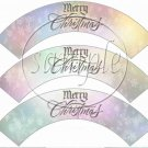 Pastel Merry Christmas  ~ Cupcake Wrappers ~ Set of 1 Dozen