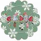 Snowbirds Green Scalloped ~ Cupcake Toppers ~ Set of 1 Dozen