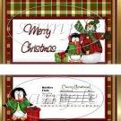 Green Plaid Snowman   ~ Standard 1.55 oz Candy Bar Wrapper  SOE