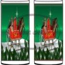 Santa Sleigh Green ~ Salt & Pepper Shaker Covers Wrappers