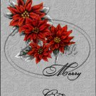 """Merry Christmas Poinsettia Grey Gray ~ Vertical  ~ 6"""" X 8"""" Foil Pan Lid Cover"""