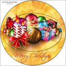 """Balls & Gifts Christmas ~ 7"""" Round Foil Pan Lid Cover"""