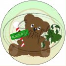 """Bear With Candy Cane Green ~ Christmas   ~ 7"""" Round Foil Pan Lid Cover"""