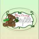 """Bear With Candy Cane Green ~ Christmas  ~ Vertical  ~ 6"""" X 8"""" Foil Pan Lid Cover"""