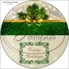 "Gold & Green Christmas ~ 7"" Round Foil Pan Lid Cover"