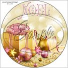 "Gold & Pink Christmas ~ 7"" Round Foil Pan Lid Cover"