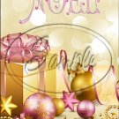 "Gold & Pink Christmas ~ Vertical  ~ 6"" X 8"" Foil Pan Lid Cover"