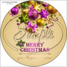 "Gold & Purple Christmas ~ 7"" Round Foil Pan Lid Cover"