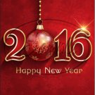 """Red Ornament Happy New Year 2016   ~ Vertical  ~ 6"""" X 8"""" Foil Pan Lid Cover"""