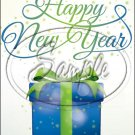 "Blue Present Happy New Year 2016   ~ Vertical  ~ 6"" X 8"" Foil Pan Lid Cover"