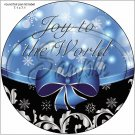 "Blue Ribbon Christmas ~ 7"" Round Foil Pan Lid Cover"