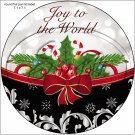 "Joy To The World Red Ribbon ~ Christmas  ~ 7"" Round Foil Pan Lid Cover"