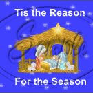 "Tis' The Reason For The Season Bright Blue ~ Christmas  ~ Horizontal  ~ 6"" X 8"" Foil Pan Lid Cover"