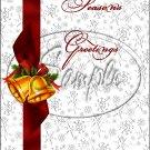 """Seasons Greeting Bells  ~ Vertical  ~ 6"""" X 8"""" Foil Pan Lid Cover"""