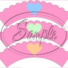 Conversation Hearts Pink ~ Valentine's Day ~ Scalloped Cupcake Wrappers ~ Set of 1 Dozen