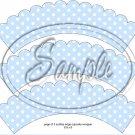 Blue Blank Polka Dot Tea Party Teacup Cupcake Wrappers ~ Set of 1 Dozen