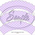 Lavender Blank Polka Dot Tea Party Teacup Cupcake Wrappers ~ Set of 1 Dozen
