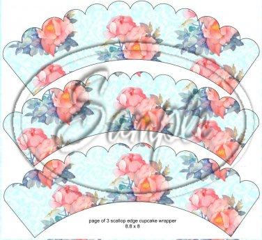 Aqua Rose Lace Tea Party Teacup Cupcake Wrappers ~ Set of 1 Dozen