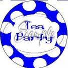Blue Tea Party Large Polka Dot ~ Tea Cup Cupcake Toppers ~ Set of 1 Dozen