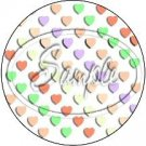 White Multi-Colored Conversation Heart ~ Cupcake Toppers ~ Set of 1 Dozen