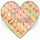 Orange Valentine's Conversation Heart ~  Heart Cupcake Toppers ~ Set of 1 Dozen