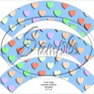 Blue Multi-Colored Conversation Heart ~ Cupcake Wrappers ~ Set of 1 Dozen