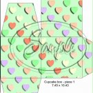 Green Valentine's Day Conversation Heart ~ Cupcake Box ~ 1 Dozen