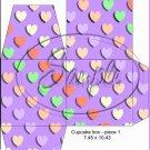 Purple Valentine's Day Conversation Heart ~ Cupcake Box ~ 1 Dozen