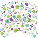 Green & Purple Polka Dot Tea Party ~ Tea Cup Scallop Cupcake Wrappers ~ Set of 1 Dozen