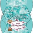 Aqua Happy Valentine's Day  Boy ~ Set of 12 Pillow Treat Gift Box