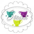 3 Tea Cup Scallop Cupcake Toppers ~ Set of 1 Dozen