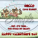 Love Bandit Raccoon  ~ Valentine's Day  ~ Standard 1.55 oz Candy Bar Wrapper  SOE