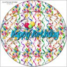 """Happy Birthday Balloons #4A ~ 7"""" Round Foil Pan Lid Cover"""