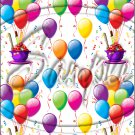 """Happy Birthday Balloons #10 ~ Vertical  ~ 6"""" X 8"""" Foil Pan Lid Cover"""