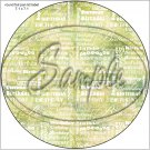 "Happy Birthday Word Collage Olive Green ~ 7"" Round Foil Pan Lid Cover"