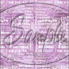 """Happy Birthday word Collage Purple ~ Vertical  ~ 6"""" X 8"""" Foil Pan Lid Cover"""