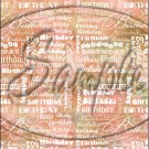 "Happy Birthday word Collage Orange ~ Vertical  ~ 6"" X 8"" Foil Pan Lid Cover"