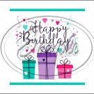 "Happy Birthday #14 ~ Horizontal  ~ 6"" X 8"" Foil Pan Lid Cover"
