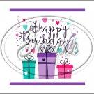 "Happy Birthday #15~ Horizontal  ~ 6"" X 8"" Foil Pan Lid Cover"