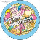"""Happy Birthday #1  ~ 7"""" Round Foil Pan Lid Cover"""