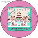 """Happy Birthday #23 ~ 7"""" Round Foil Pan Lid Cover"""