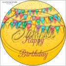 """Happy Birthday #35B ~ 7"""" Round Foil Pan Lid Cover"""