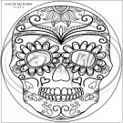 "Sugar Skull Adult Coloring #9 ~ 7"" Round Foil Pan Lid Cover"