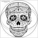 "Sugar Skull Adult Coloring #10 ~ 7"" Round Foil Pan Lid Cover"