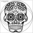 "Sugar Skull Adult Coloring #11 ~ 7"" Round Foil Pan Lid Cover"
