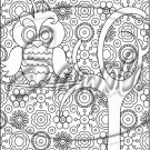 """Adult Coloring ~ Owl In a Tree ~ Vertical ~ 6"""" X 8"""" Foil Pan Lid Cover"""